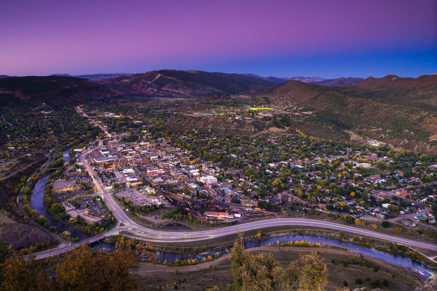 Downtown Durango from Smelter Mountain at Twilight