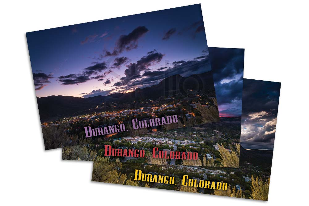Set of nine post cards of downtown Durango Colorado from three locations