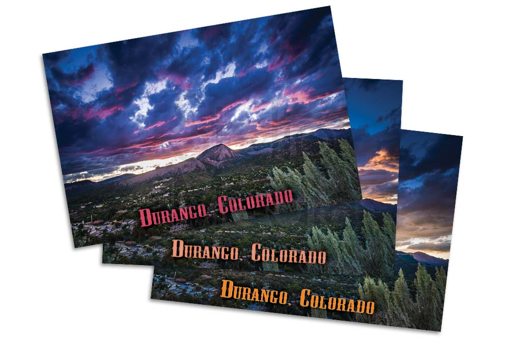 Set of three post cards of downtown Durango Colorado from Smelter Mountain